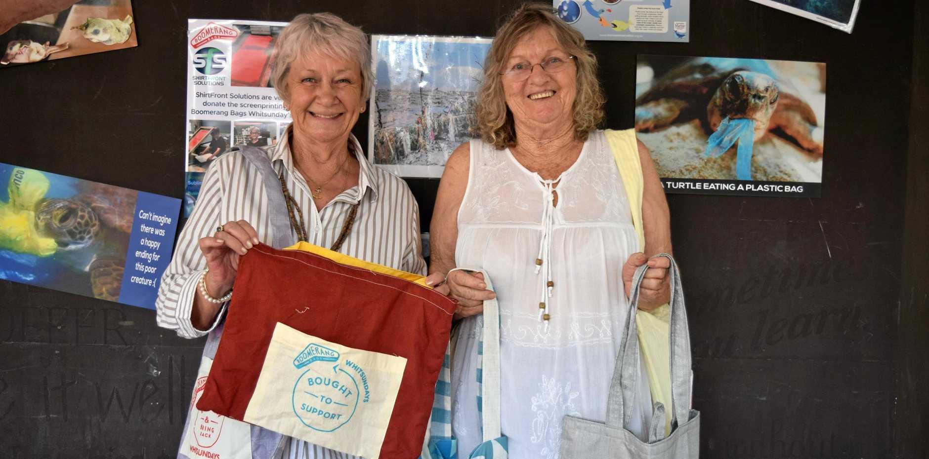 Whitsunday Councillor Jan Clifford and Boomerang Bags Whitsundays co-ordinator Barb Adamson at the sewing bee last Thursday morning.