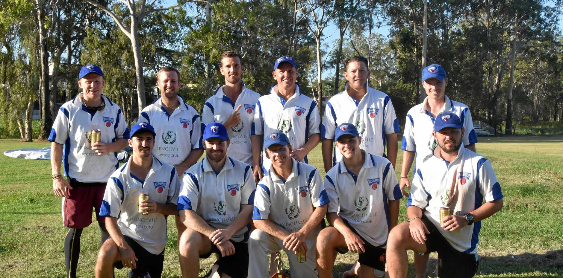 The victorious Rockhampton team after taking out the 2018/19 CQ Championships - their 10th in a row. Rockhampton defeated Gladstone by 83 runs at Sun Valley Oval.
