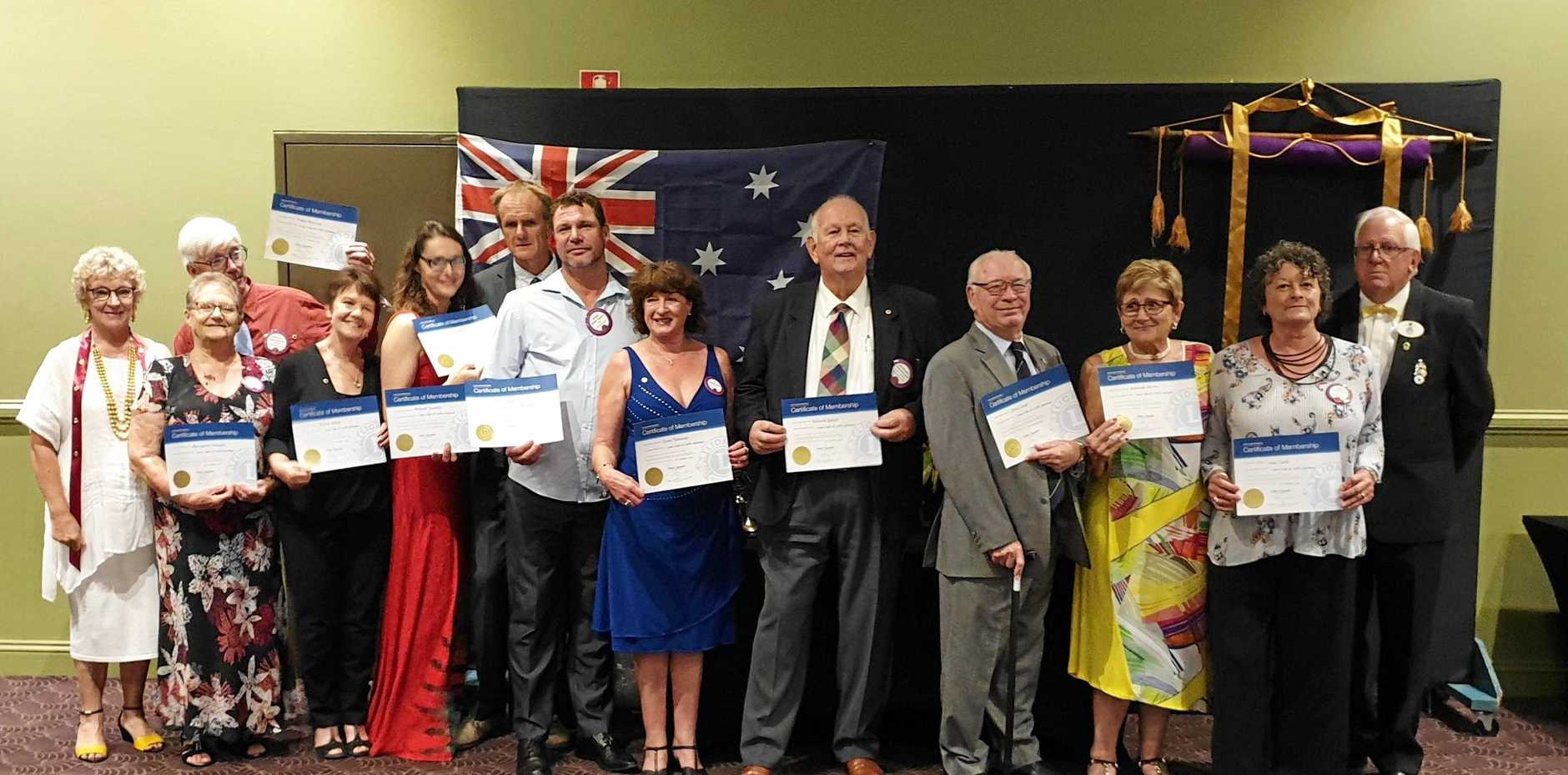 NEWLY INDUCTED: Lions membership chairperson Robin Parker, new members Margaret Pressor, Finley Morrison, Kerrie Wilson, Jacqui and Michael Radecki, Kirk Taylor, Diane Robinson, Richard Guest, John Lloyd, Adelaide Del-Pin, Lexie Clark and District Governor David Emanuel.