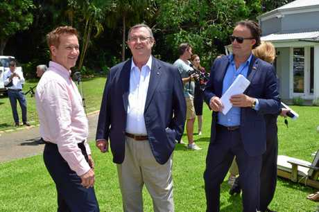 Badderam investment director Kim Carroll with Visit Sunshine Coast CEO Simon Latchford and Chair David Ryan at the site of the Badderam proposal. Badderam creative director and owner Heidi Meyer has since been made a member of the Visit Sunshine Coast board.