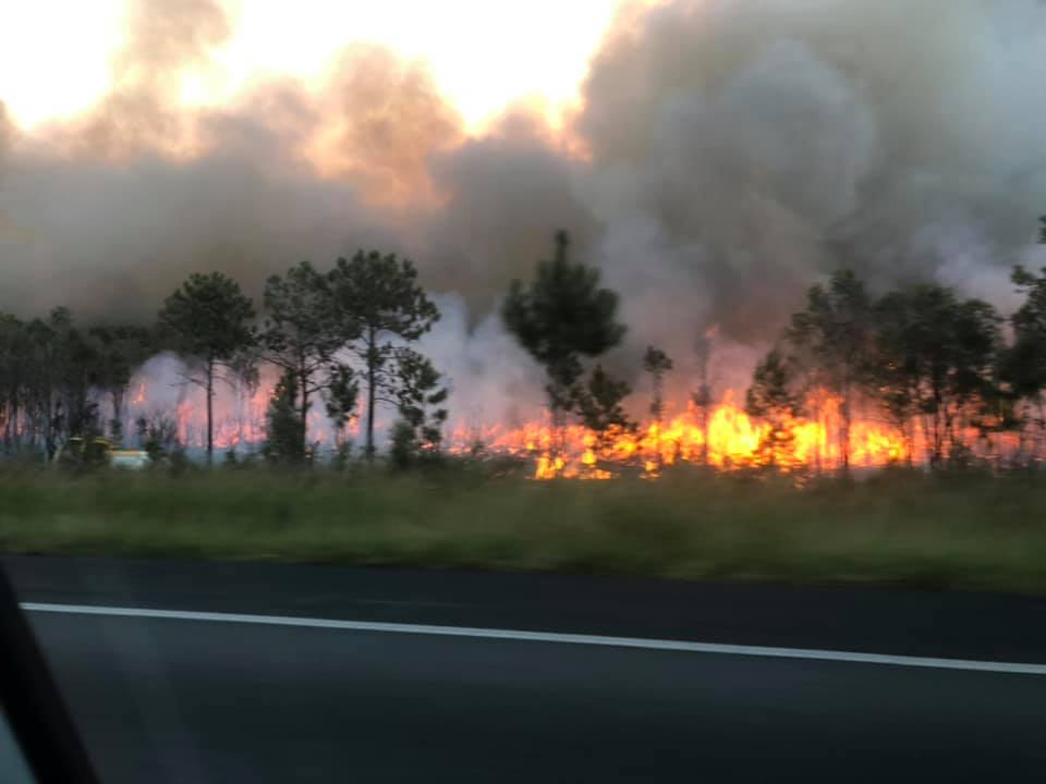 Motorists feared the Bruce Highway would be closed as a large fire burned at Beerwah for about eight hours on Sunday afternoon. Picture: Facebook/Mark Davenport