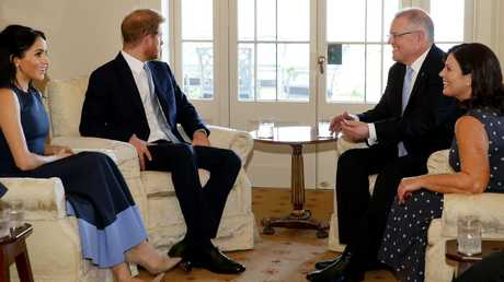 Harry and Meghan meeting Scott and Jenny at Kirribilli House. Picture: Jonathan Ng