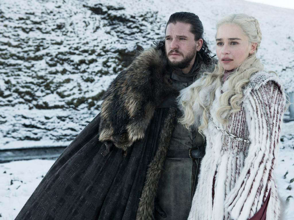 The Final Season of Game of Thrones features Kit Harington as Jon Snow and Emilia Clarke as Daenerys Targaryen – Photo: Helen Sloan/HBO