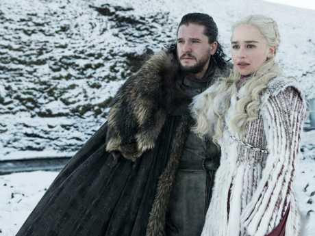 The Final Season of Game of Thrones features Kit Harington as Jon Snow and Emilia Clarke as Daenerys Targaryen – Photo: Helen Sloan/HBO
