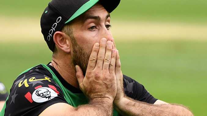 MELBOURNE, AUSTRALIA - FEBRUARY 17: Glenn Maxwell of the Melbourne Stars watches on as the Renegades are presented with their trophy after winning the Big Bash League Final match between the Melbourne Renegades and the Melbourne Stars at Marvel Stadium on February 17, 2019 in Melbourne, Australia. (Photo by Quinn Rooney/Getty Images)