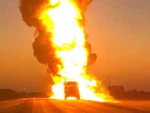 Fuel tanker explodes, melts into road
