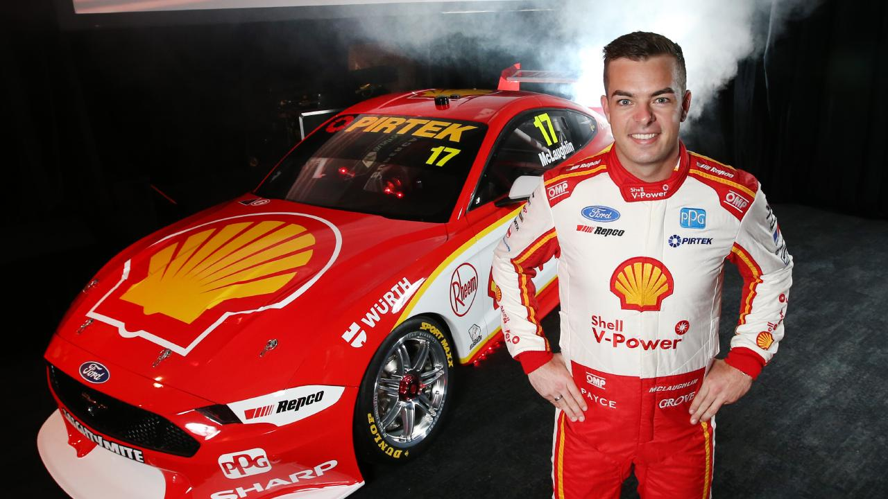 Reigning Supercars champion Scott McLaughlin with his new Mustang. Picture: David Caird