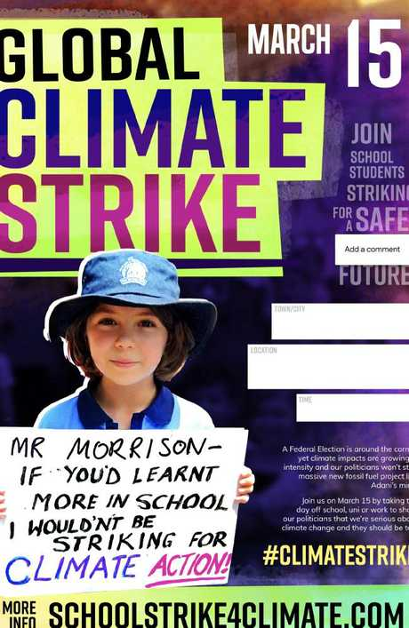 A template poster provided by organisers of the School Strike For Climate Justice.