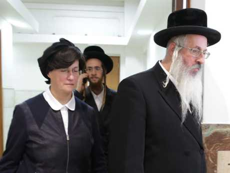 Malka Leifer's brother, sister and son leave an earlier court hearing in  Jerusalem. Picture: Ella Pellegrini