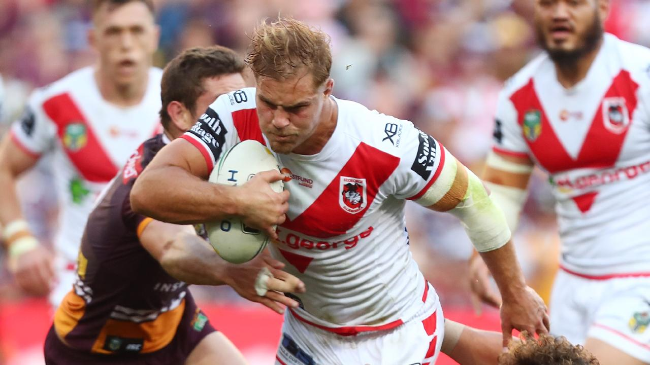 Jack de Belin in action for the Dragons against the Broncos in the teams' elimination final last September. Picture: Chris Hyde/Getty Images
