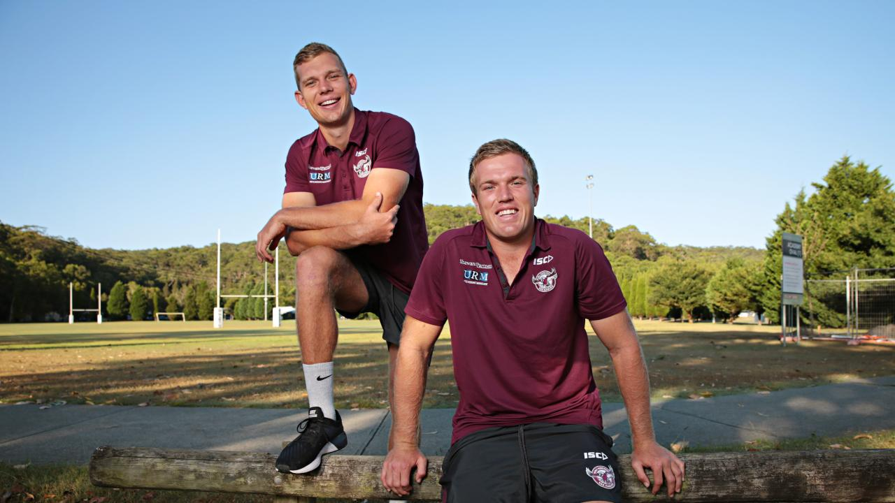 Sea Eagles stars Tom and Jake Trbojevic at North Narrabeen. Photographer: Adam Yip
