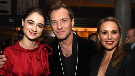 With Vox Lux co-stars Raffey Cassidy and Jude Law (Photo by Kevin Winter/Getty Images)