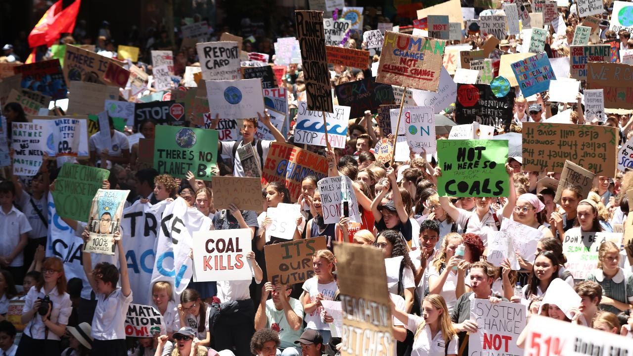 Students protesting in November 2018 to demand the government take action on climate change. Picture: Mark Metcalfe/Getty Images