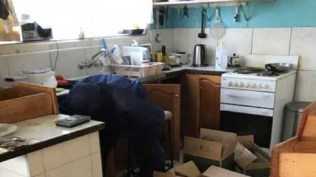 The kitchen in the Kingscliff home of the late Steven Colley.