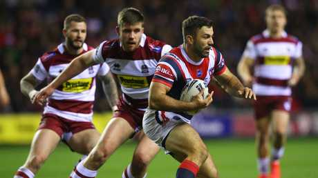 James Tedesco runs the ball during the World Club Challenge against the Wigan Warriors at DW Stadium. Picture: Getty