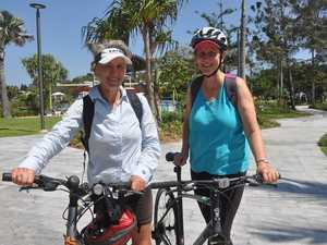 Ruth and Mary enjoy some bike time before stopping at