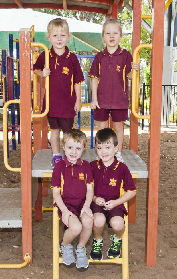 Image for sale: ( Back from left ) Hannah and Laylah ( Front from left ) Mason and Hamish. Jondaryan State School Prep. Wednesday, 3rd Jan, 2018.