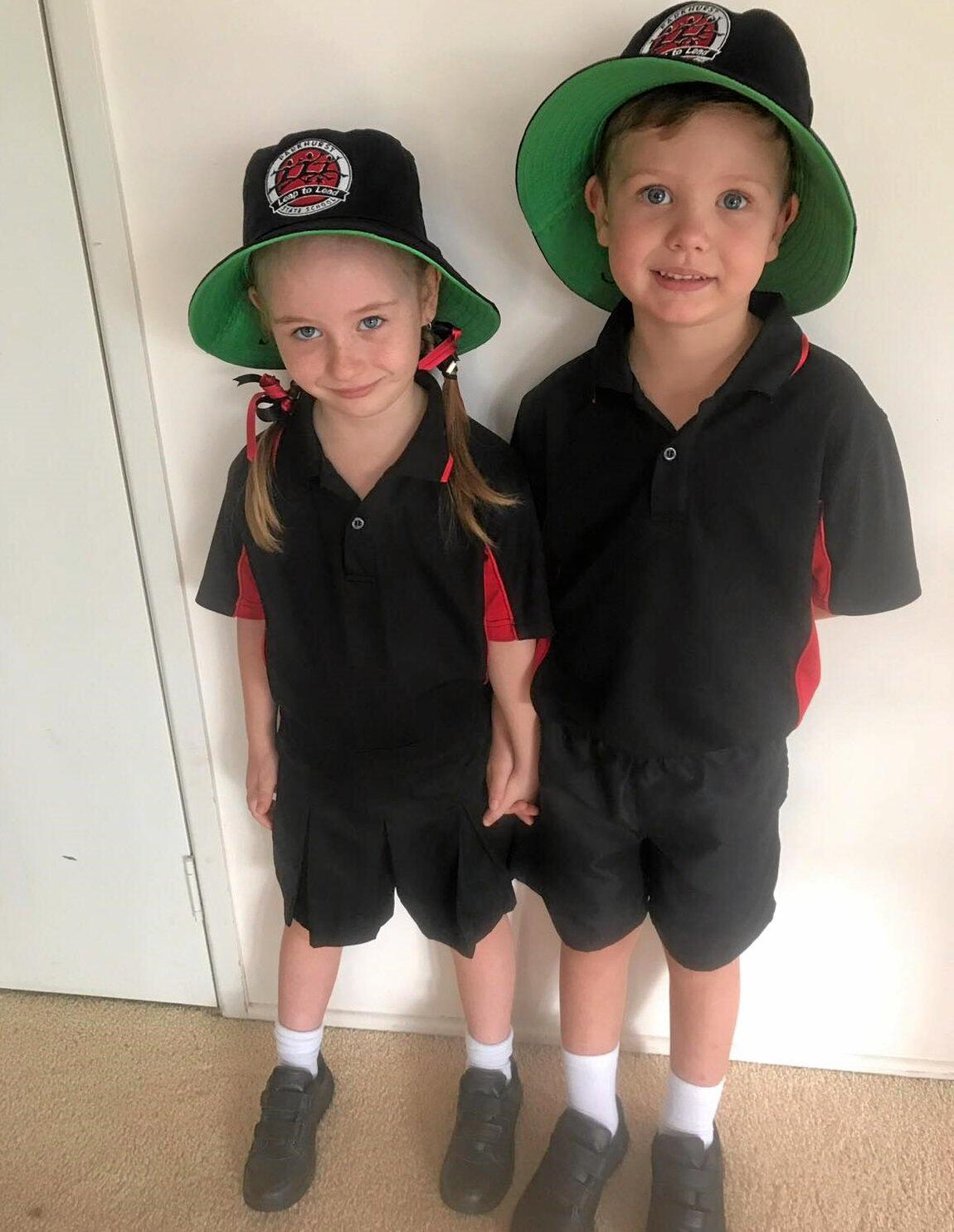 FIRST DAY: The twins, Sam and Sasha Anderson on their first day of prep at Parkhurst State School. The twins were born via a surrogacy pregnancy.