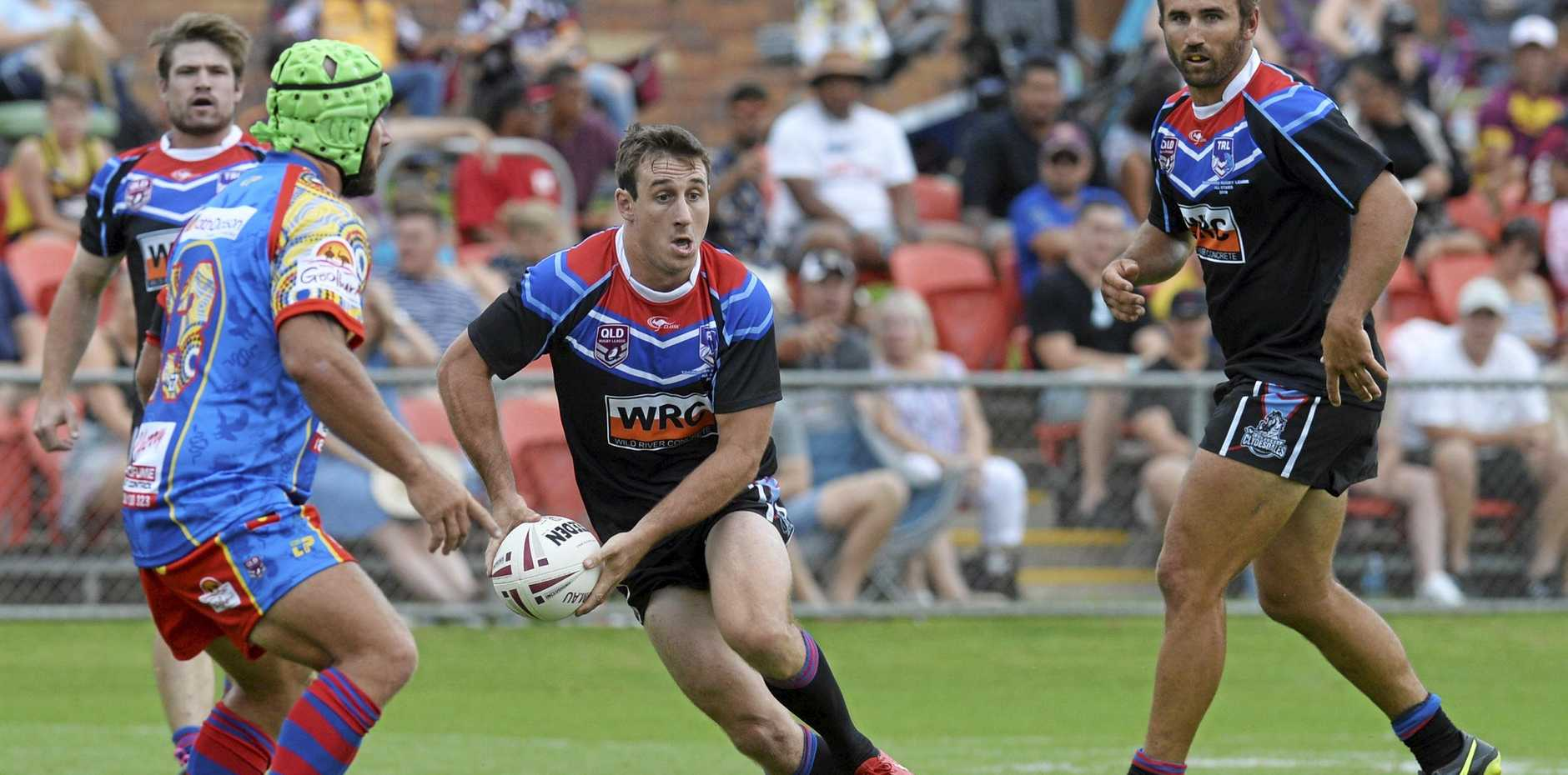 TRL All Stars player Matt Duggan against South West Queensland Emus in rugby league at Clive Berghofer Stadium last year.