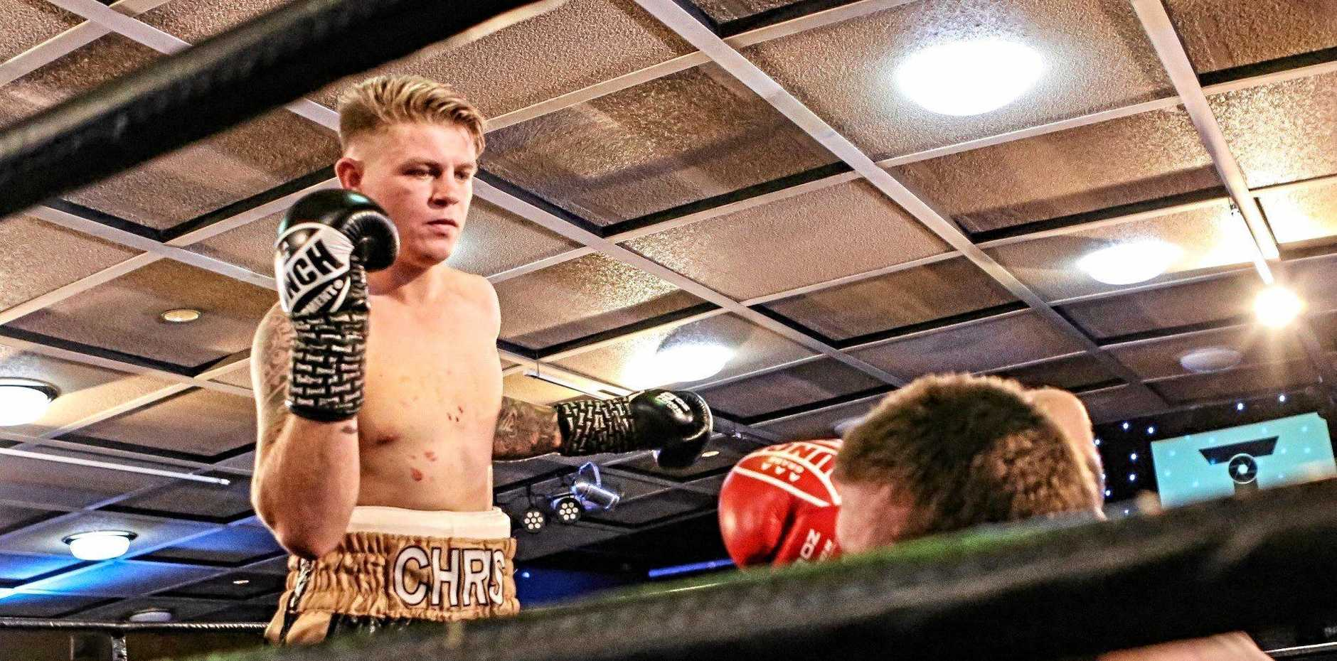 Chris Brackin on his way to another Rumours International win. He returns to the ring on March 9.