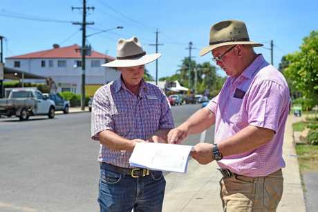 Howard Drainage - Councillor James Hansen and Councillor Denis Chapman on William St in Howard where the project is set to centre around.