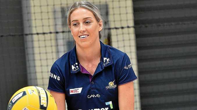 SHAPING UP WELL: Cara Koenen at a Sunshine Coast Lightning netball clinic at the Caloundra Indoor Stadium.