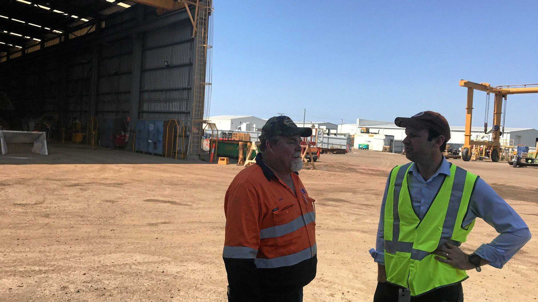 NOT HAPPY: SMW Group director Jack Trenaman and Minister for Resources and Northern Australia Matthew Canavan talk about their disappointment with the results from Adani's Black-Throated Finch Management Plan.