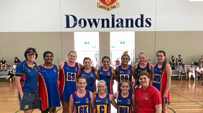 TOP TEAM: Celebrating their Laura Geitz Shield win are Downlands College players (back, from left) manager Norah Vinson, Liana Niki, Abby Postle, Felicity Connor, Makayla Cubby, Renee Cubby, Molly McPherson, Jess Lawless, (front, from left) Molly Gore, Keziah Mayers, Lauren Fraser and coach Tabitha Allen.