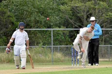 Maroochydore batsman, Craig Davies (blue helment) and Gympie bowler, Josh Brady. Maroochydore Blue V Gympie, division one, one-day final at Sid Lingard Drive, Buderim. January 24, 2016. Photo Patrick Woods / Sunshine Coast Daily