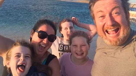 The Jarvis family — Kate, Petrina, Ella, Hazel and Luke — at Coral Bay, Western Australia.