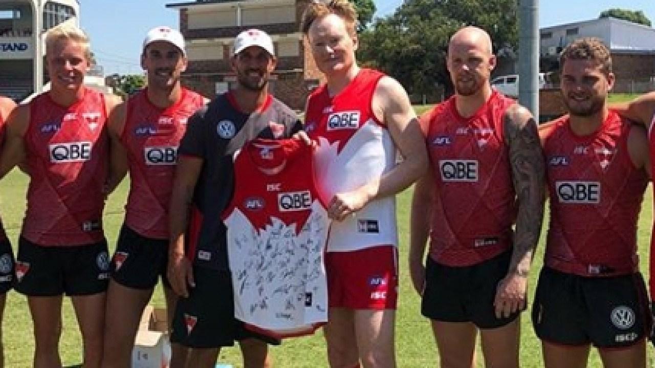 US Comedian Conan O'Brien in Sydney with Sydney Swans Players. Credit: Instagram