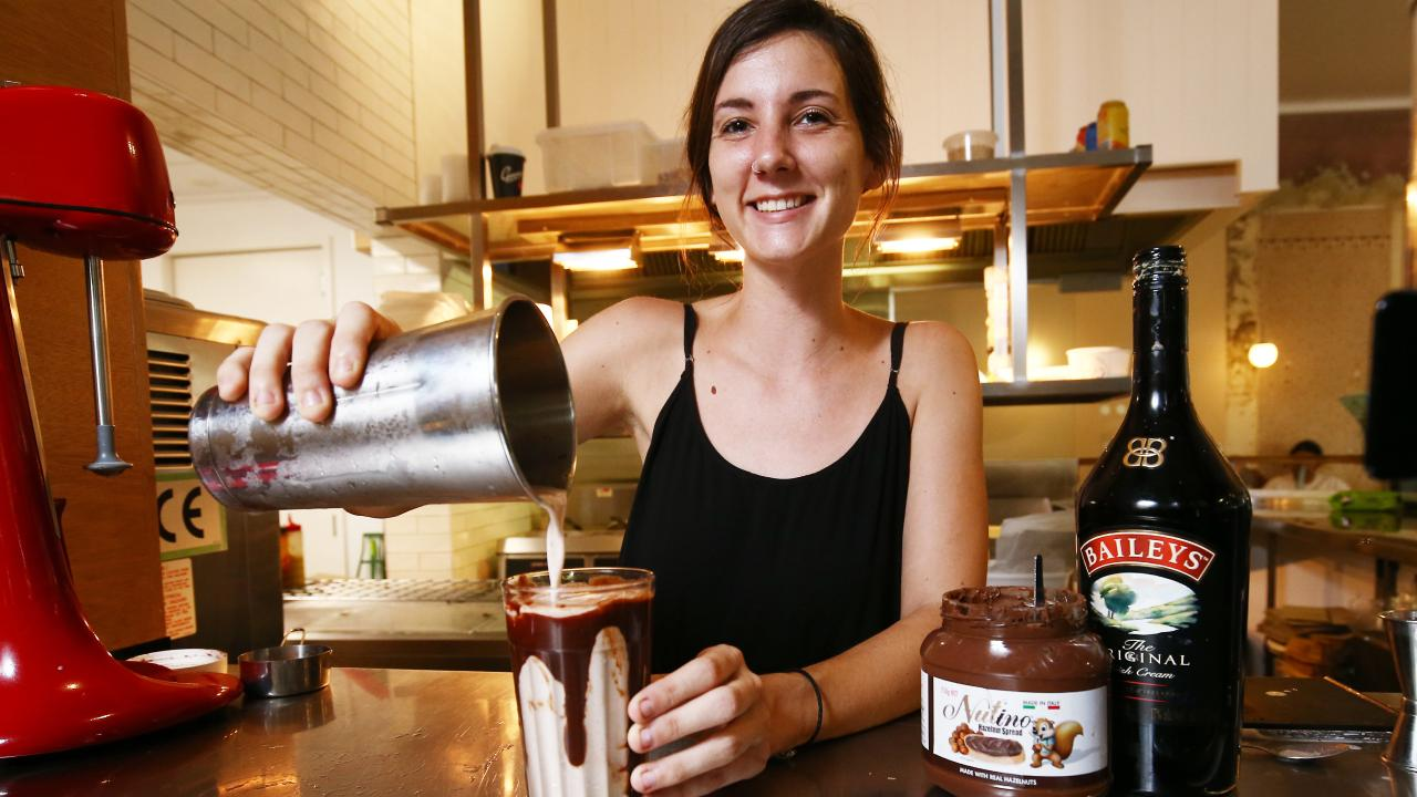 Perottas and Evo Burger staff member Kate Gehringer makes a boozy thickshake at Evo Burger, which includes Nutino, coffee beans and Baileys liqueur. PICTURE: BRENDAN RADKE