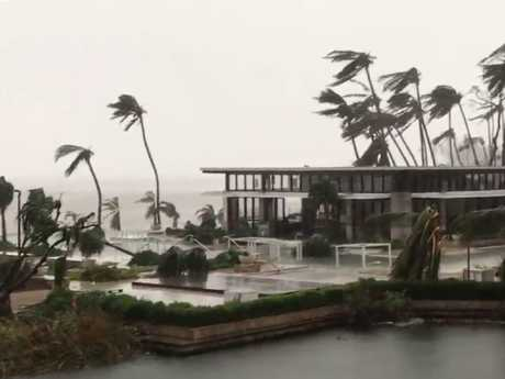 Damage caused by cyclone Debbie on Hayman Island. Picture: Twitter/Cameron W Berkman
