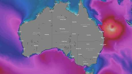 This image shows likely wave heights on Friday approaches Queensland. The red area is 2 -6m high waves, the white area 9m waves. Picture: Windy.