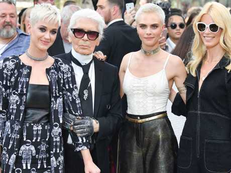 (L-R) Katy Perry, Karl Lagerfeld, Cara Delevingne and Claudia Schiffer attend the Chanel Haute Couture Fall/Winter 2017-2018 show as part of Haute Couture Paris Fashion Week in 2017.  Picture:  Getty