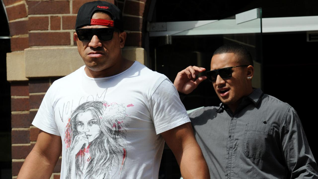 Jamil Hopoate leaves court with his father John Hopoate.