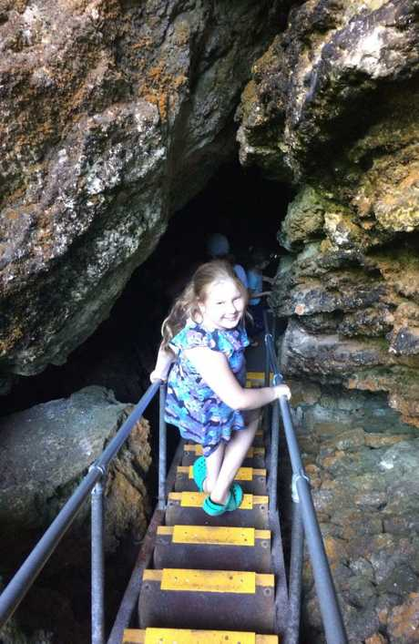 Hazel descending the giant sunken entrance at Lake Cave, Boranup, Western Australia. Lake Cave is a crystal wonderland with the unique 'suspended table' formation, and the only one known in the world that can be viewed. Picture: Petrina Jarvis