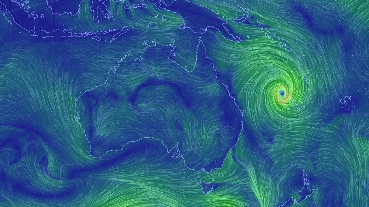 In this false colour wind map, Cyclone Oma can be seen currently just north west of New Caledonia and will likely cross the French territory's coast in the next 24 hours. Picture: Earthschool