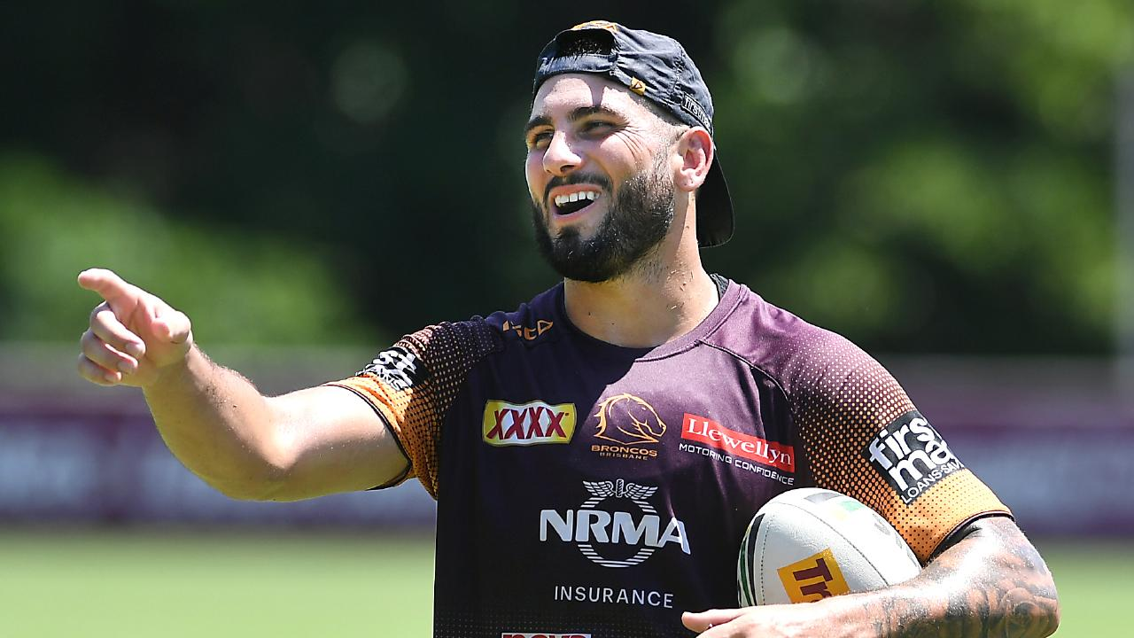 Jack Bird Broncos training at the Clive Berghofer Centre. Tuesday February 19, 2019. (AAP image, John Gass)