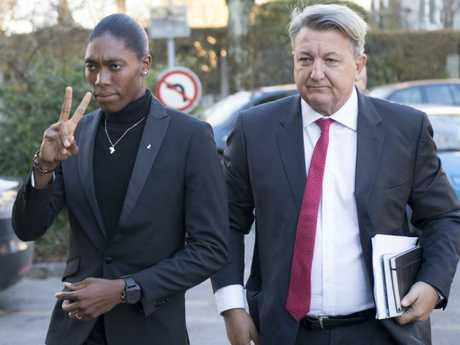 Caster Semenya and lawyer Gregory Nott arrive for the first day of a hearing at the International Court of Arbitration for Sport.