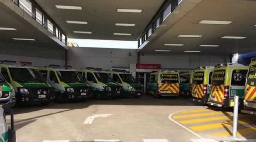 Another instance of ambulance ramping at Flinders Medical Centre last year.