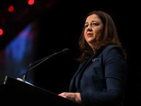 Premier Annastacia Palaszczuk speaks at a media club lunch in Brisbane today. Picture: Dan Peled/AAP