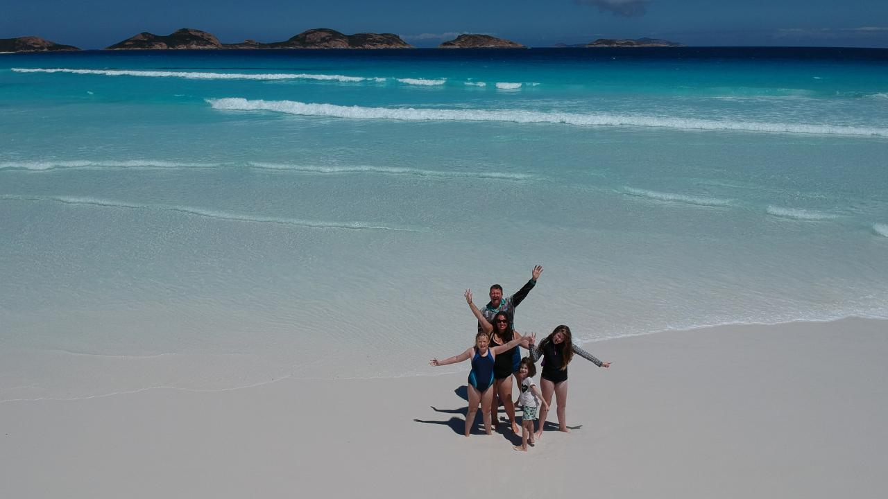 Hazel, Luke, Petrina, Kate and Ella Jarvis at Lucky Bay, Cape Le Grand National Park, Western Australia.