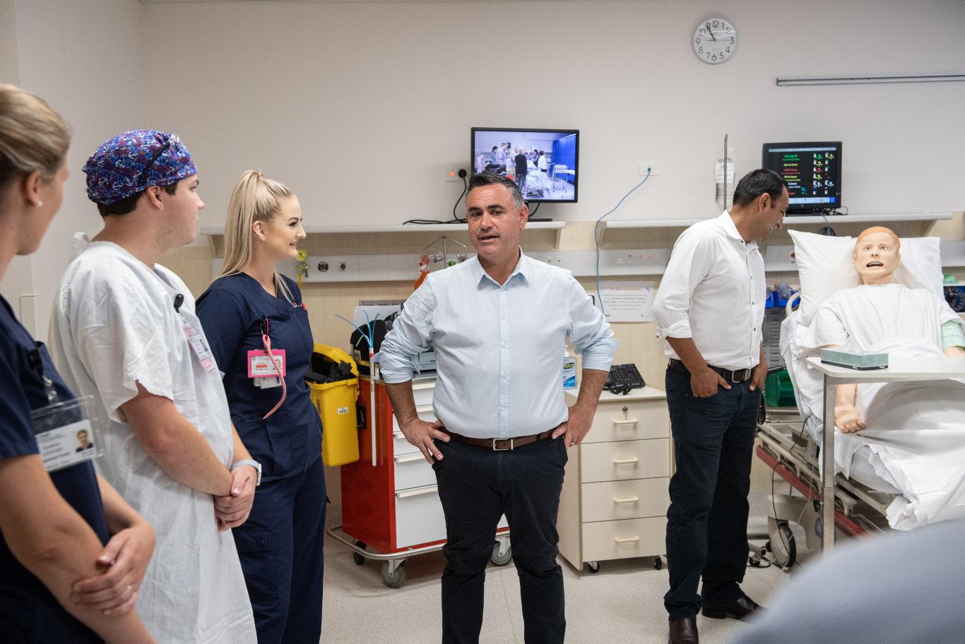 Deputy Premier John Barilaro and Nationals candidate for Coffs Harbour Gurmesh Singh at the Coffs Harbour Base Hospital.