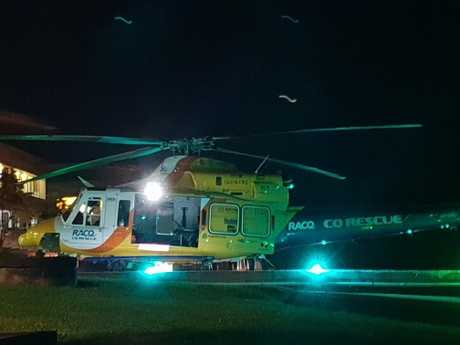 Two injured men, aged 52 and 51, are being assessed after arriving via RACQ CQ Rescue helicopter at Mackay Base Hospital.
