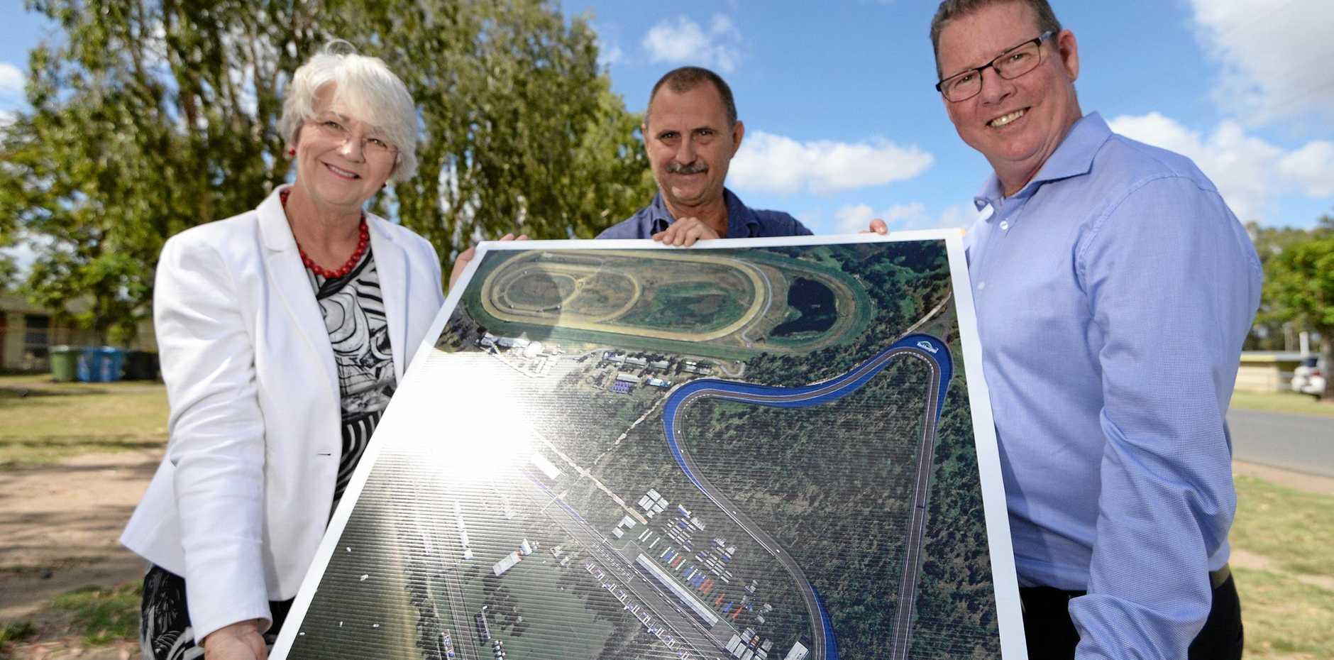 UNSUCCESSFUL BID: Mayor Margaret Strelow, CQ Motor Sporting Club president Craig Jervis and Rockhampton MP Barry O'Rourke last year.