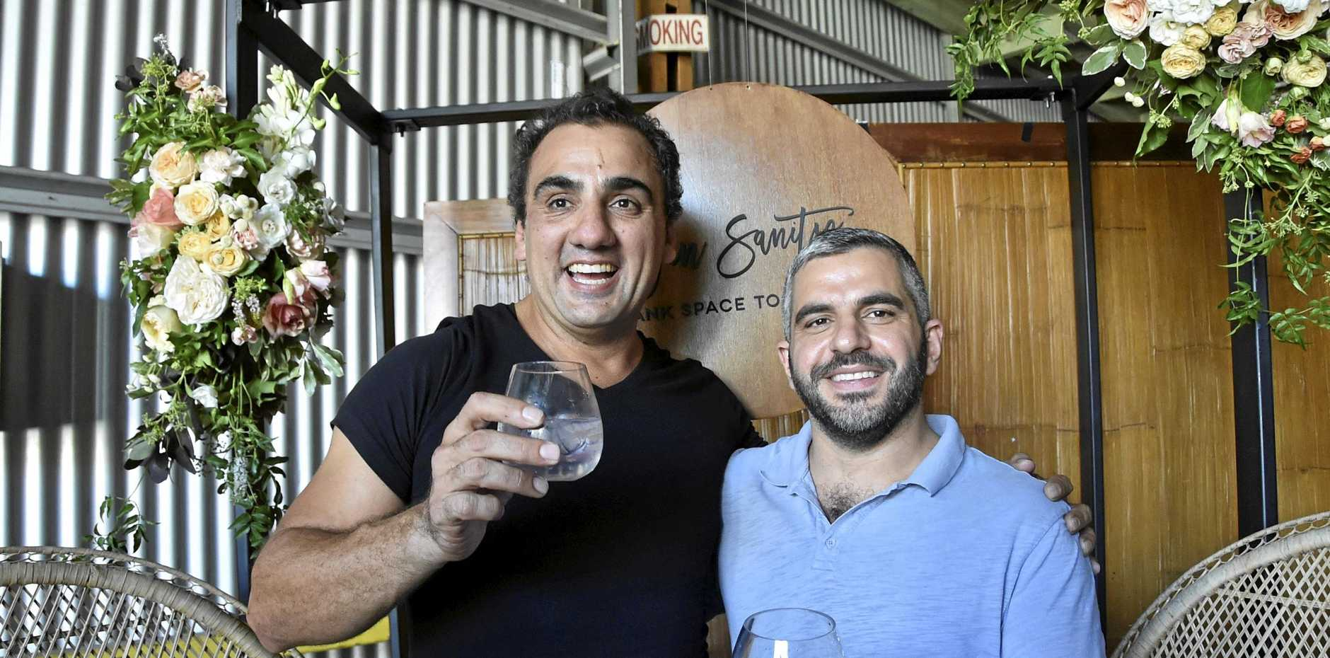 TOP TIPPLE: Getting in the spirit at last year's Gin Sanity festival are publican Phil Coorey (left) and Johnny Moubarak.
