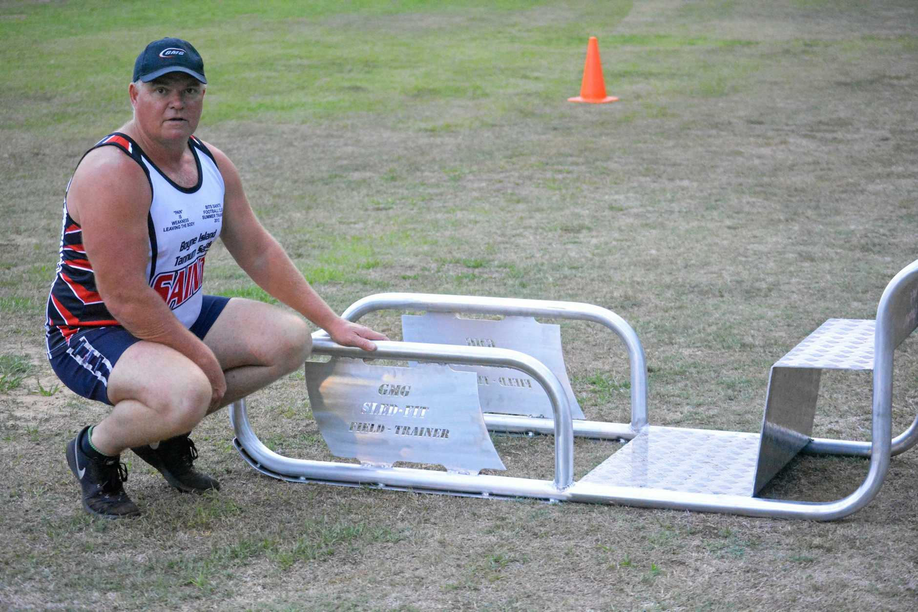 SIMPLE, BUT EFFECTIVE: Alan Watkin with his self-designed Sled-Fit Field Trainer.