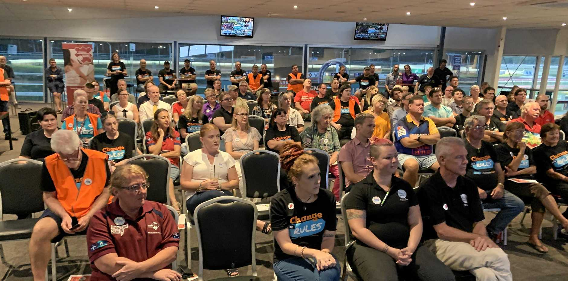 HUGE TURNOUT: About 150 local union members attended today's  event at the Rockhampton Jockey Club.