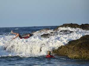 OMA OUCH: Youth swept off feet by surging swell